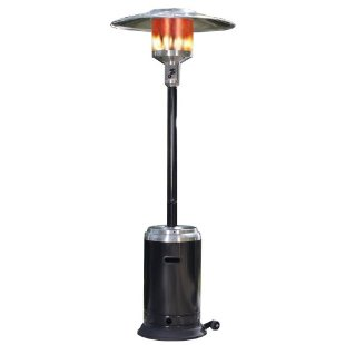 Fire Sense Commercial Patio Heater, Stainless Steel and Black Powder Coating
