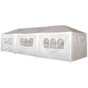 Palm Springs 10x30' Party Tent Gazebo Canopy with Sidewalls (White)