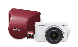 Nikon 1 J1 10.1MP Digital Camera Bundle with 10-30mm VR 1 NIKKOR Lens, 8 GB SD Card, and Case (White)