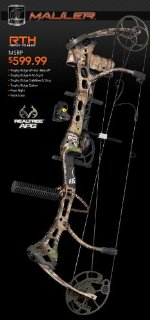 Bear Archery Mauler RTH Compound Bow Package (RLTR APG, RH 29/70)