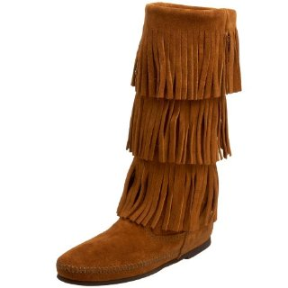 Minnetonka 3-Layer Fringe Calf-Hi Boots (Brown)