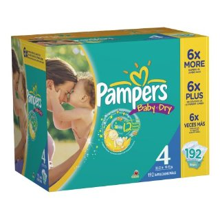 Pampers Baby-Dry Diapers (Size 4, Economy Pack Plus with 192 Diapers)