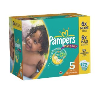 Pampers Baby-Dry Diapers (Size 5, Economy Pack Plus of 172 Diapers)