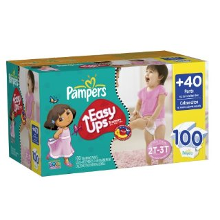 Pampers Easy Ups Trainers for Girls (Size 2T/3T = Size 4,Pack of 100)