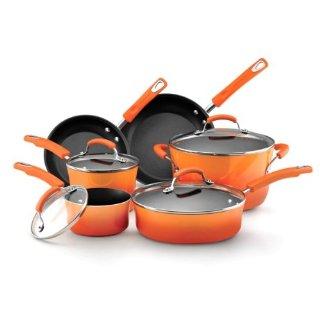 Rachael Ray Hard Enamel 10-Piece Nonstick Cookware Set (Orange)