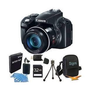 Canon PowerShot SX50 HS 12.1MP Digital Camera with 50x IS Zoom and 32GB Super Bundle