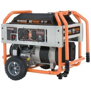 Generac XG7000E 7000 Watt Gas Powered Portable Generator with Wheel Kit And Electric Start
