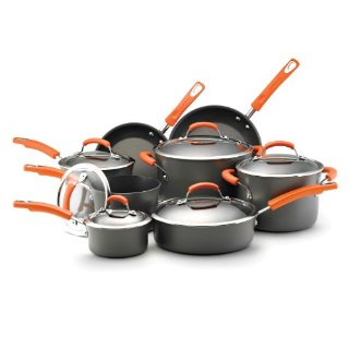 Rachael Ray Hard Anodized II Nonstick Dishwasher Safe 14-Piece Cookware Set, Orange