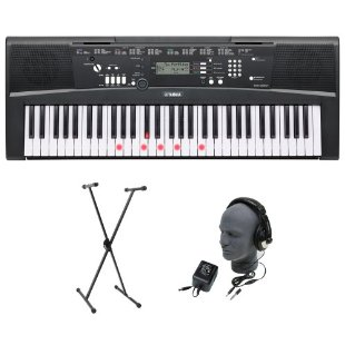 Yamaha EZ-220 Lighted Key Premium Keyboard Package with Headphones, Stand and Power Supply