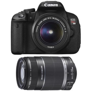 Canon EOS Digital Rebel T4i 18MP SLR Camera with 18-55mm & 55-250mm lenses