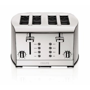 Krups Breakfast Set 4-Slice Toaster with Brushed and Chrome Stainless Steel (KH734D50)