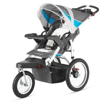 Schwinn Turismo Single Swivel Jogging Stroller (Grey/Blue, 13-SC117)