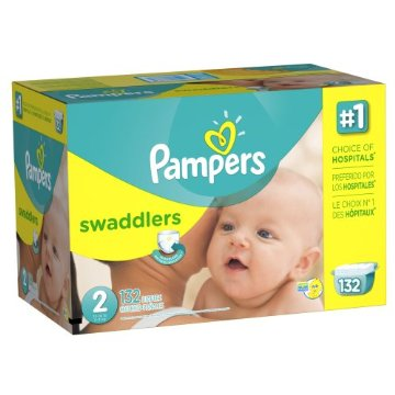 Pampers Swaddlers Diapers Economy Pack Plus (Size 2,  12-18lbs, Pack of 132)