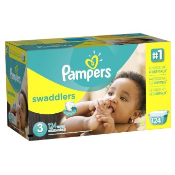 Pampers Swaddlers Diapers Economy Pack Plus (Size 3, 16-28lbs, Pack of 124)
