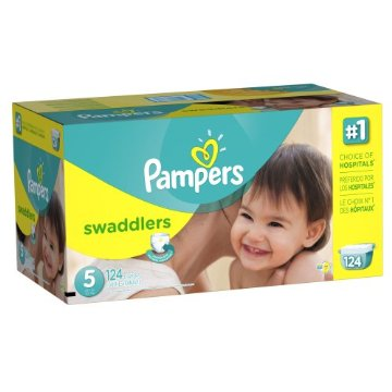 Pampers Swaddlers Diapers Economy Pack Plus (Size 5, 27lbs+, Pack of 124)