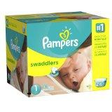Pampers Swaddlers Diapers Economy Pack Plus (Size 1, Neborn 8-16lbs, 216 Count)
