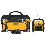 DeWalt DCK385C2 20V Max 3-Tool Combo Kit with Hammer Drill, Impact Driver, Worksite Radio