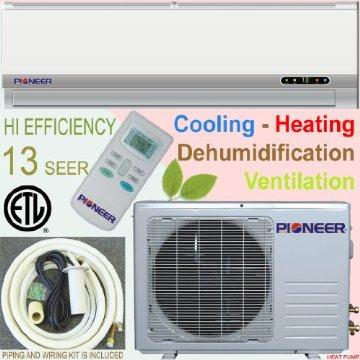 Pioneer Ductless Mini Split Air Conditioner, Heat Pump, 12000 BTU (1 Ton), 13 SEER, Cooling, Heating, Dehumidification, Ventilation w/ Installation Kit (WYD012AL3JAR-L)
