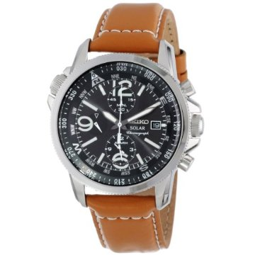 Seiko SSC081 Solar Chronograph Black-Dial Alarm Watch