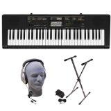 Casio CTK2400 PPK 61-Key Premium Portable Keyboard Package with Samson HP30 Headphones, Stand and Power Supply