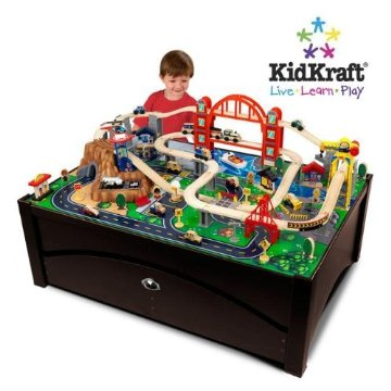 KidKraft Metropolis 100-Piece Wooden Train Table Set