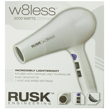 Rusk W8less Professional Lightweight Ceramic Tourmaline Hair Dryer, 2000 Watt