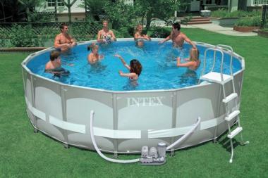 Intex 16' by 48 Ultra Metal Frame Pool Set with 1200GPH Saltwater System (54469EG, 28325EG)