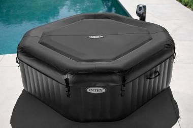 Intex PureSpa Jet & Bubble Message Deluxe Portable Hexagon Hot Tub Set (28453E)