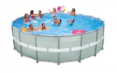 Intex Ultra Frame Pool Set, 18-Feet by 52-Inch, Gray