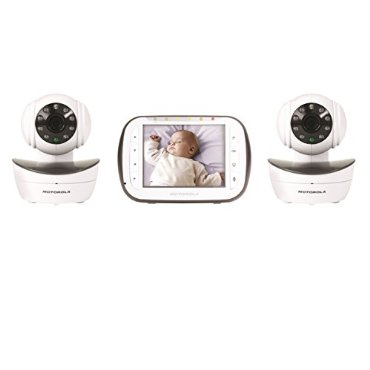 "Motorola MBP43-2 Wireless Digital Video Baby Monitor with 2 Cameras, 3.5"" Color Video Screen, Infrared Night Vision, Pan, Tilt, and Zoom"