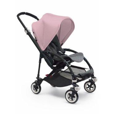 Bugaboo Bee 3 Black Frame Stroller With Grey Melange Seat (Soft Pink)