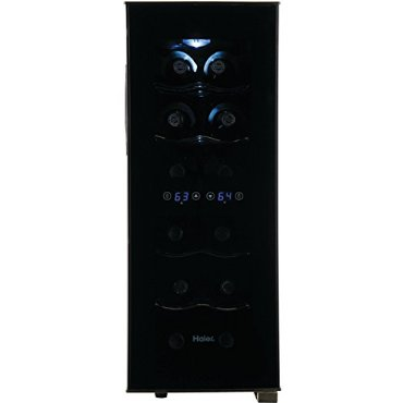 Haier 12-Bottle Dual Zone Curved Door with Smoked Glass Wine Cellar (HVTEC12DAB)