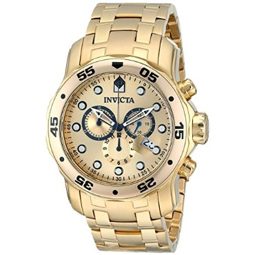 Invicta 0074 Scuba Pro-Diver Chronograph 18k Gold-Plated Stainless Steel Men's Watch