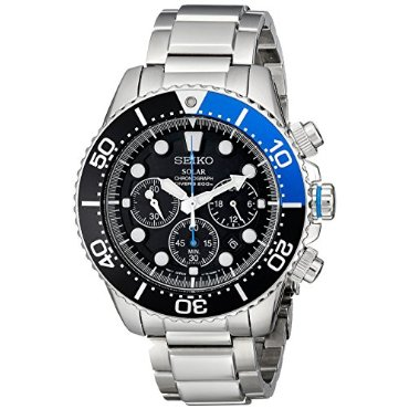 Seiko SSC017 Solar Dive Stainless Steel Black Dial Men's Watch