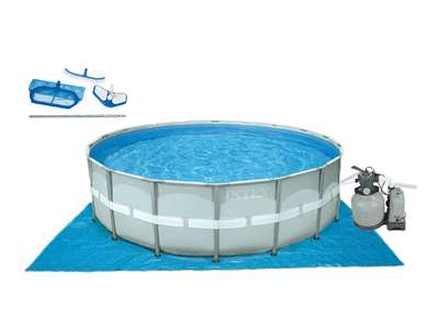 "Intex 18' x 52"" Round Ultra Frame Pool Set with Filter Pump & Saltwater System (28335EH)"