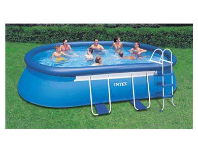 "Intex 18x10' x 42"" Oval Frame Pool Set with Filter Pump, Ladder, Ground Cloth, Cover (28191EH)"