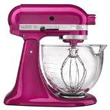 KitchenAid KSM155GBRI Artisan Design Series 5-Qt. Mixer with Glass Bowl (Raspberry Ice)