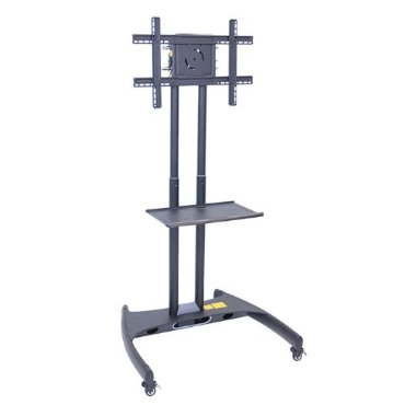 LUXOR FP2500 Adjustable Height LED/LCD Flat Panel Mount Cart with Shelf, Gray