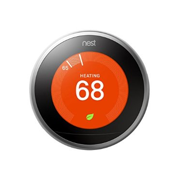 Google, T3007ES, Nest Learning Thermostat, 3rd Gen, Smart Thermostat, Stainless Steel, Works With Alexa- Stainless Steel