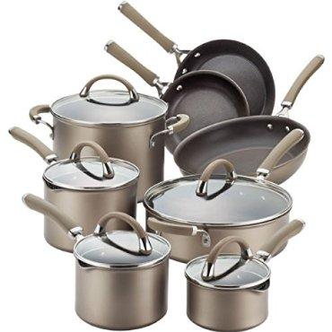 Circulon Premier Professional 13-piece Hard-Anodized Cookware Set (Bronze Exterior, Stainless Steel Base)