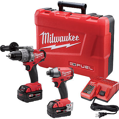 Milwaukee 2797-22 FUEL 18v Brushless Hammer Drill Impact Kit with 2 RedLithium XC 4.0 Batteries