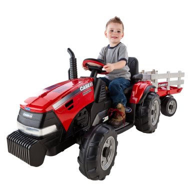 Peg-Perego Case IH Magnum Tractor with Trailer 12V Battery Powered Ride On