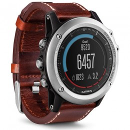 Garmin Fenix 3 Sapphire (Watch Only, Silver with Leather Band and Rubber Band)
