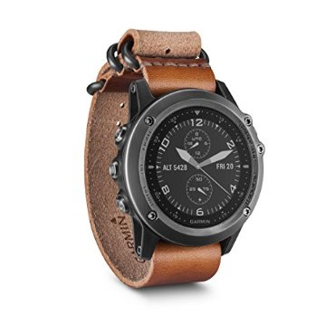 Garmin Fenix 3 Sapphire (Watch Only, Gray with Leather Strap and Nylon Strap)