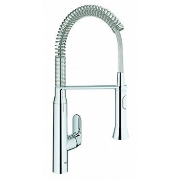 Grohe K7 Medium Semi-Pro Kitchen Faucet with Pull-Out Spray (Starlight Chrome, 31380000)