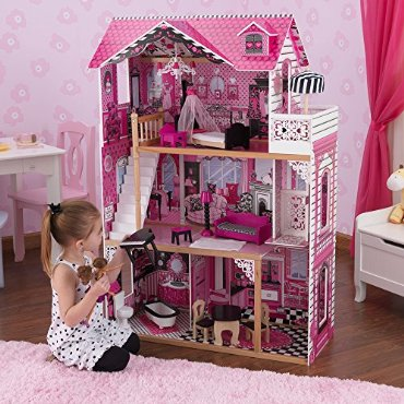 KidKraft Amelia Doll & Play House with 15 Pieces of Furniture (65093)
