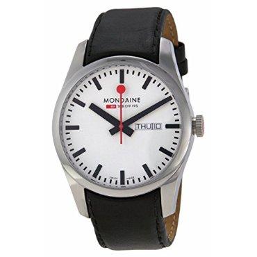 Mondaine Railways White Dial Leather Automatic Men's Watch A.132.30345.11SBB