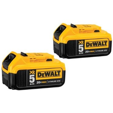 DeWalt DCB205-2 20V MAX XR 5.0Ah Lithium Ion Battery, 2-Pack