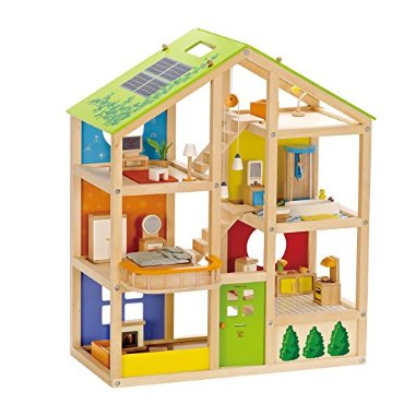 Hape All Seasons Wood Doll House with Accessories