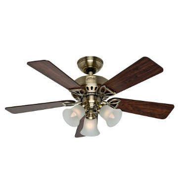 Hunter The Beacon Hill 42 Ceiling Fan with Five Rosewood/Medium Oak Blades and Light Kit, Antique Brass (53078)